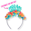 "Teal glitter and multi color fringe party crown saying ""50 & fabulous"" Customize for any age!"