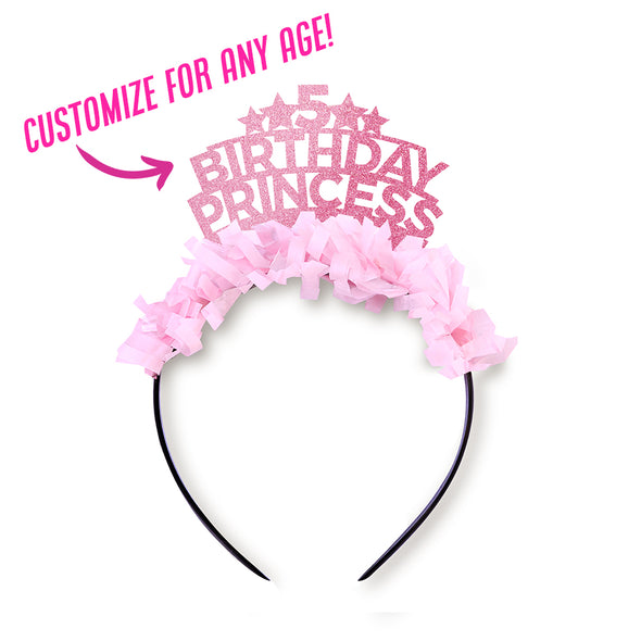 "Pink glitter and light pink fringe party crown saying ""5 Birthday Princess"" Customize for any age!"