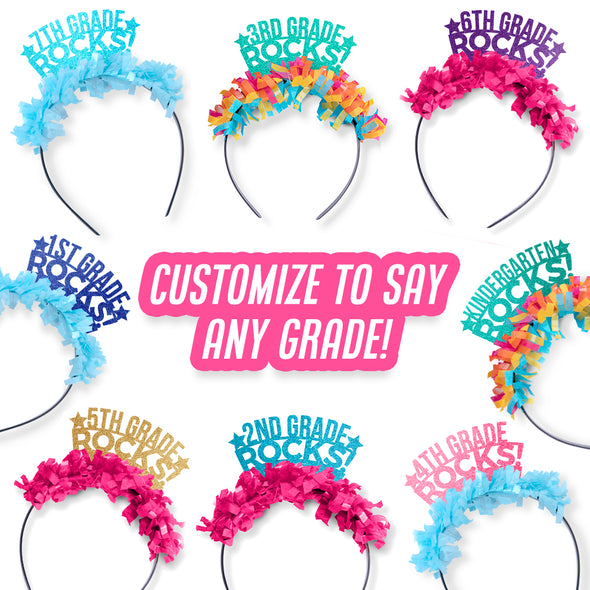 Collage of colorful back-to-school party crowns. Customize to say any grade!