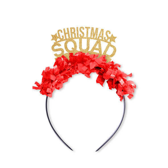 Gold party crown with red fringe saying Christmas Squad and has two little gold stars