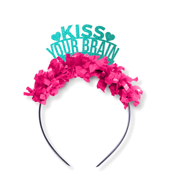 "Teal glitter and hot pink fringe party crown saying ""Kiss your brain"" and has 2 hearts"