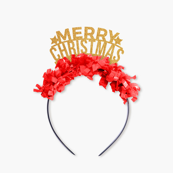 "Gold glitter and red fringe party crown that says ""Merry Christmas"" and has two gold stars"