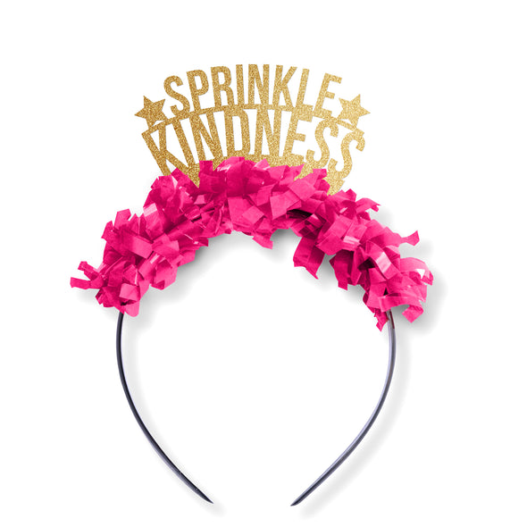 "Gold glitter and hot pink fringe party crown that reads ""Sprinkle Kindness"""
