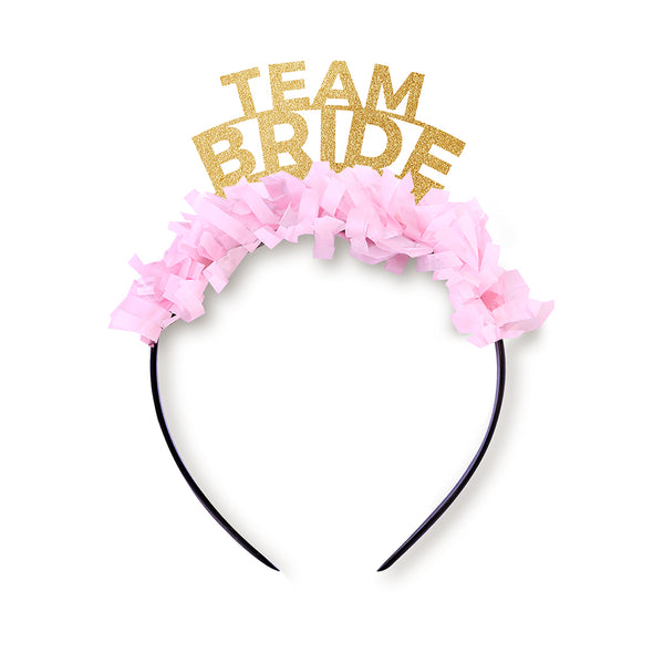 "Gold glitter and light pink party crown that says ""Team Bride"""