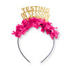 "Gold glitter party crown with hot pink pink fringe that reads ""Testing in Session"". Image"