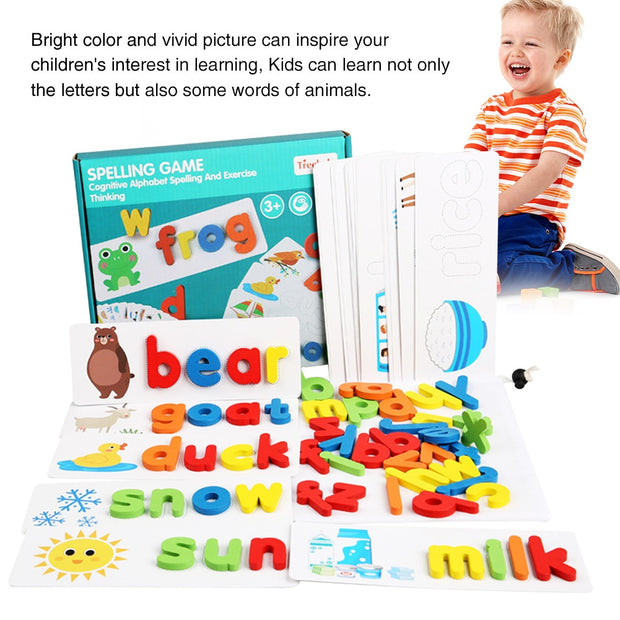 Letter Recognition Spelling Game and cardboard color