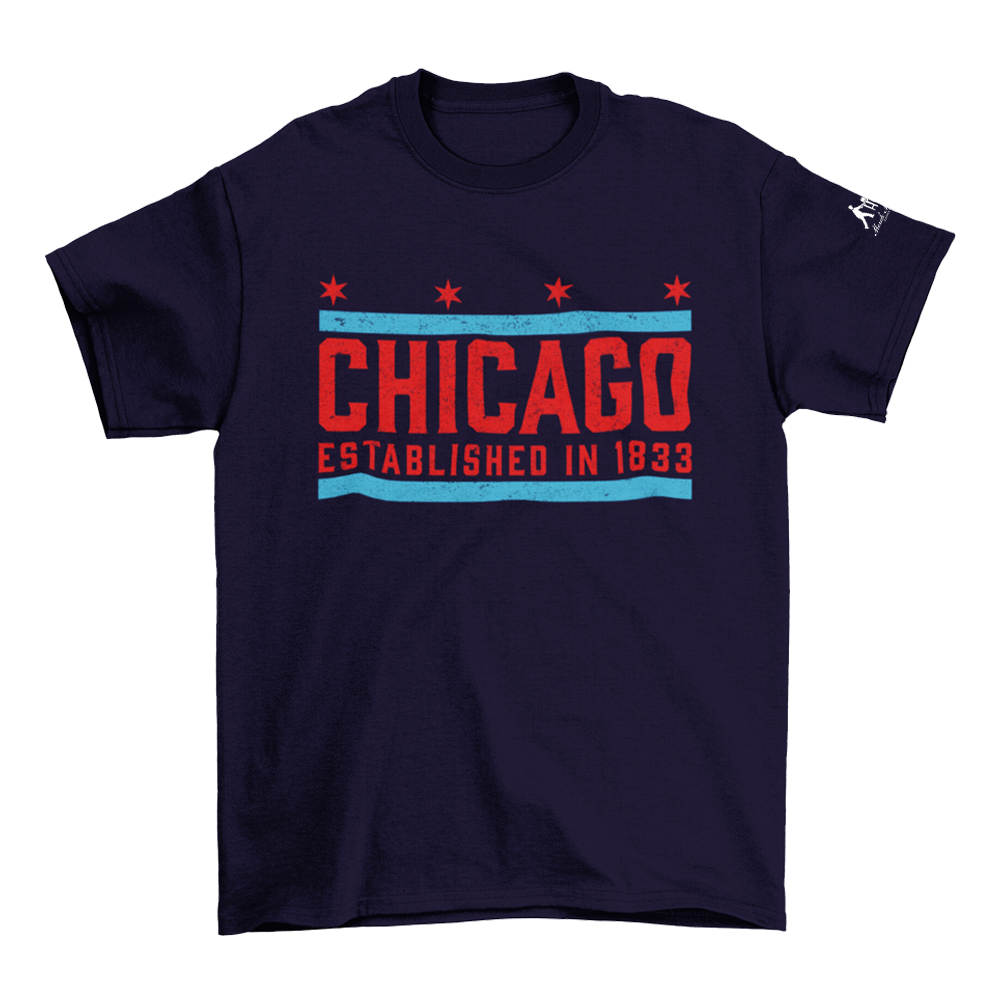 Blue T-Shirt with Chicago Established in 1833 in red