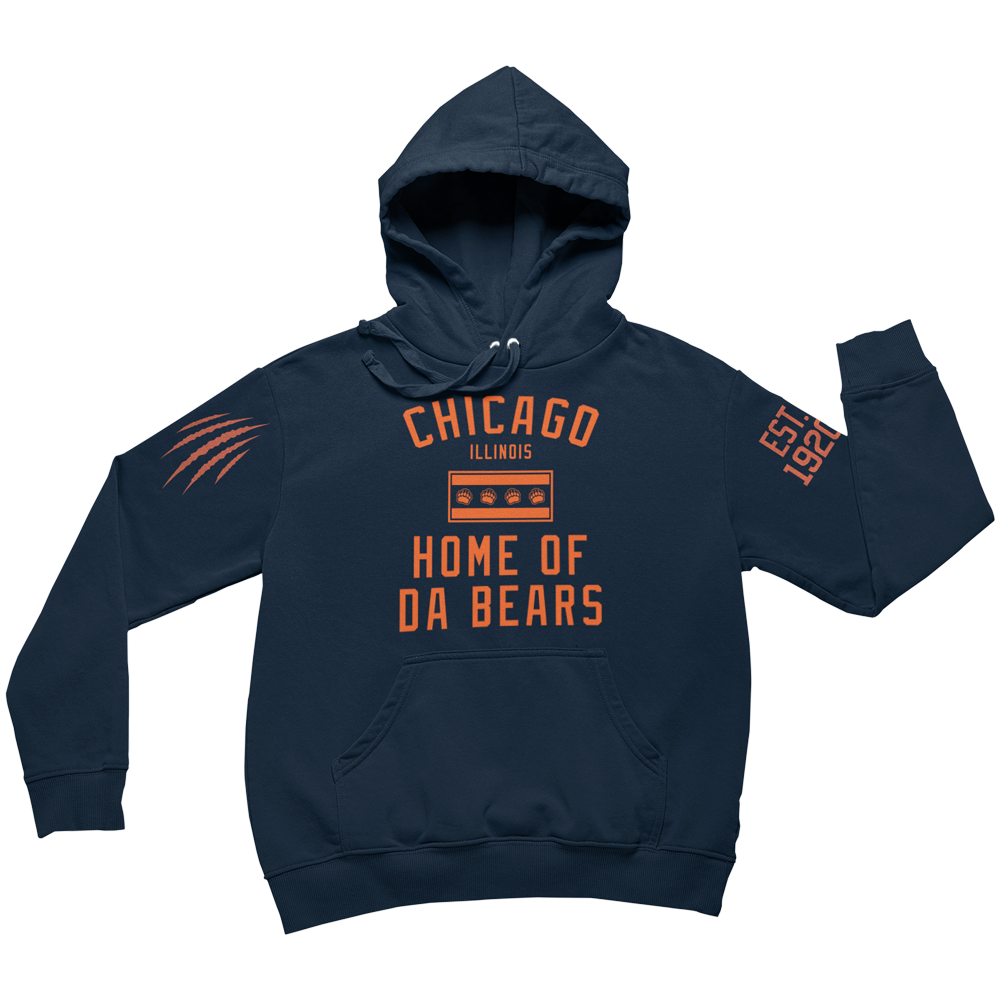 Blue Hoody with Orange Chicago Bears Flag Established in 1920 on sleeve and bear claw scratch on sleeve.
