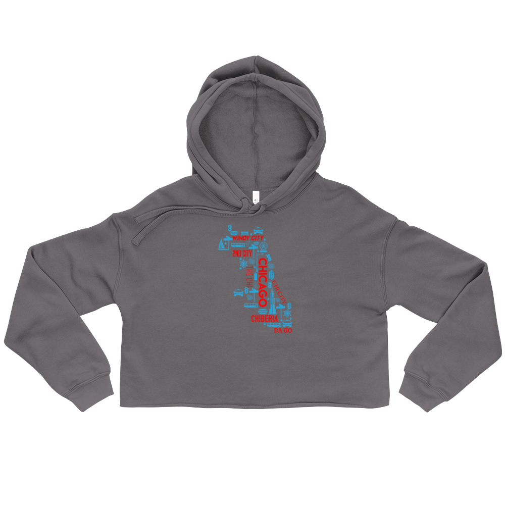 Grey Crop Top Hoodie with Chicago Nicknames