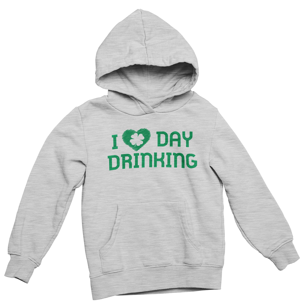Grey Hoodie with Green Heart and Day Drinking