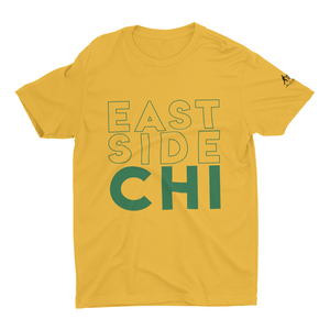 Mustard T-Shirt with East Side Chicago in Green