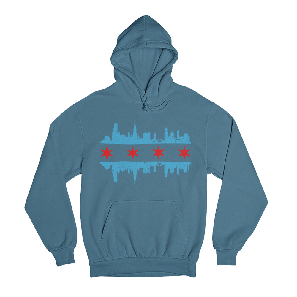 Blue hoody with Chicago Skyline