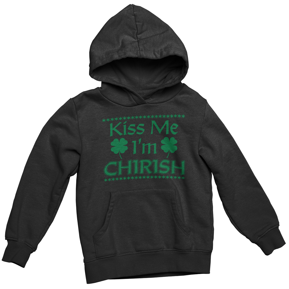 Black hoodie with green Chirish Shamrocks