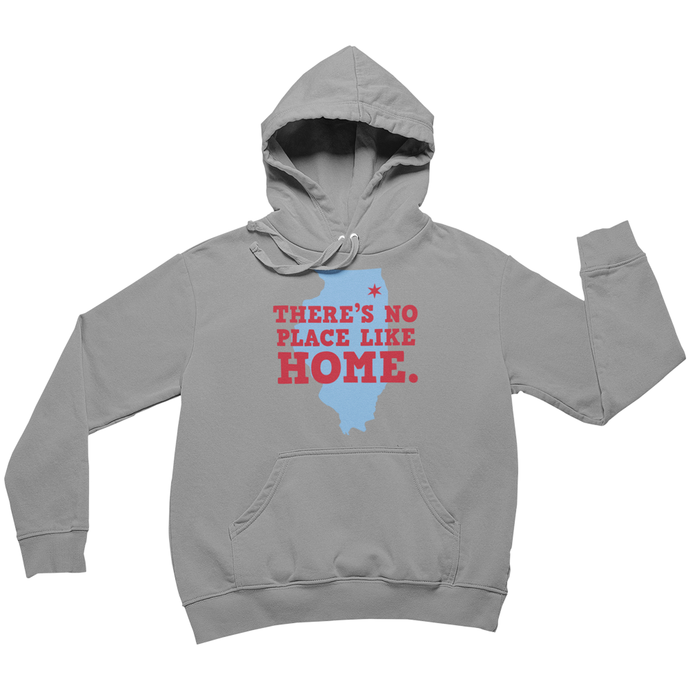 Grey Hoodie with Illinois State Map Outline