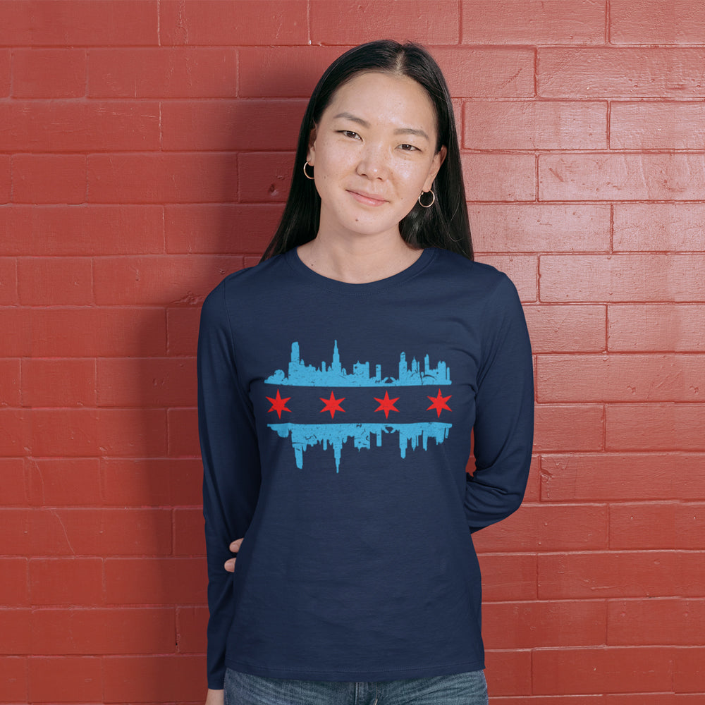 Chicago Flag Skyline Unisex Long Sleeve Tee
