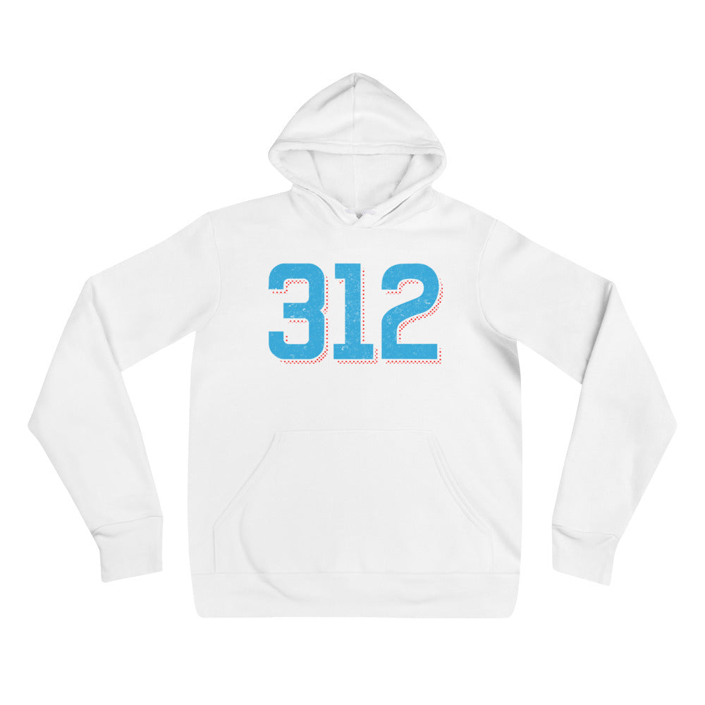 White hoodie with Blue 312 Chicago Area Code