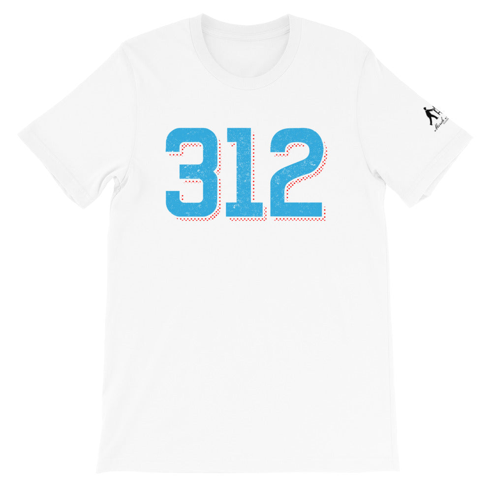 White T-shirt with 312 area code in Chicago Blue