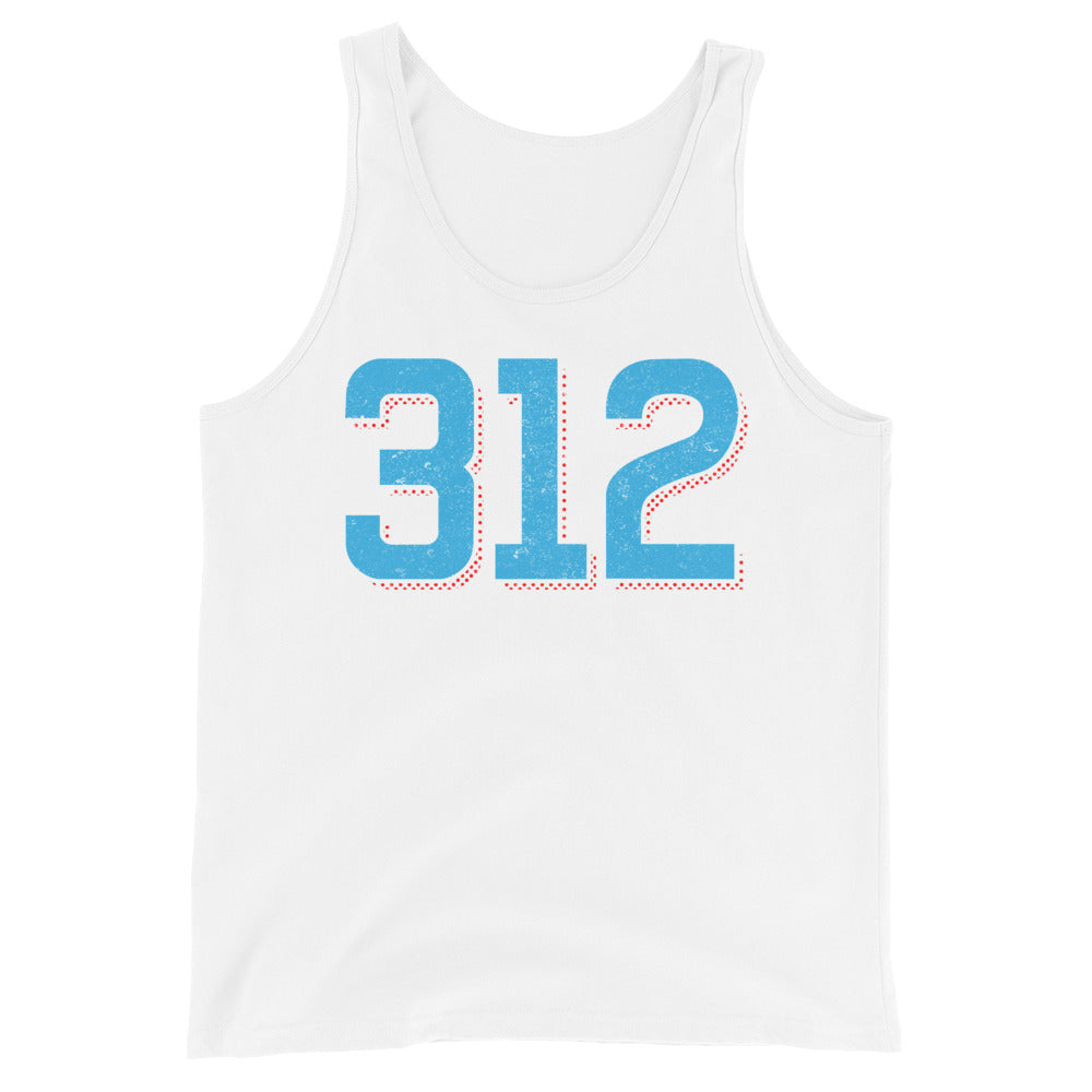 White Tank Top with Blue 312 Chicago Area Code