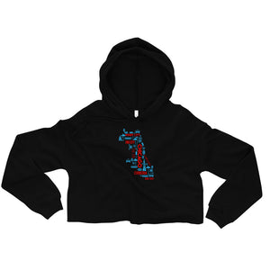 Black Crop Top Hoodie with Chicago Nicknames