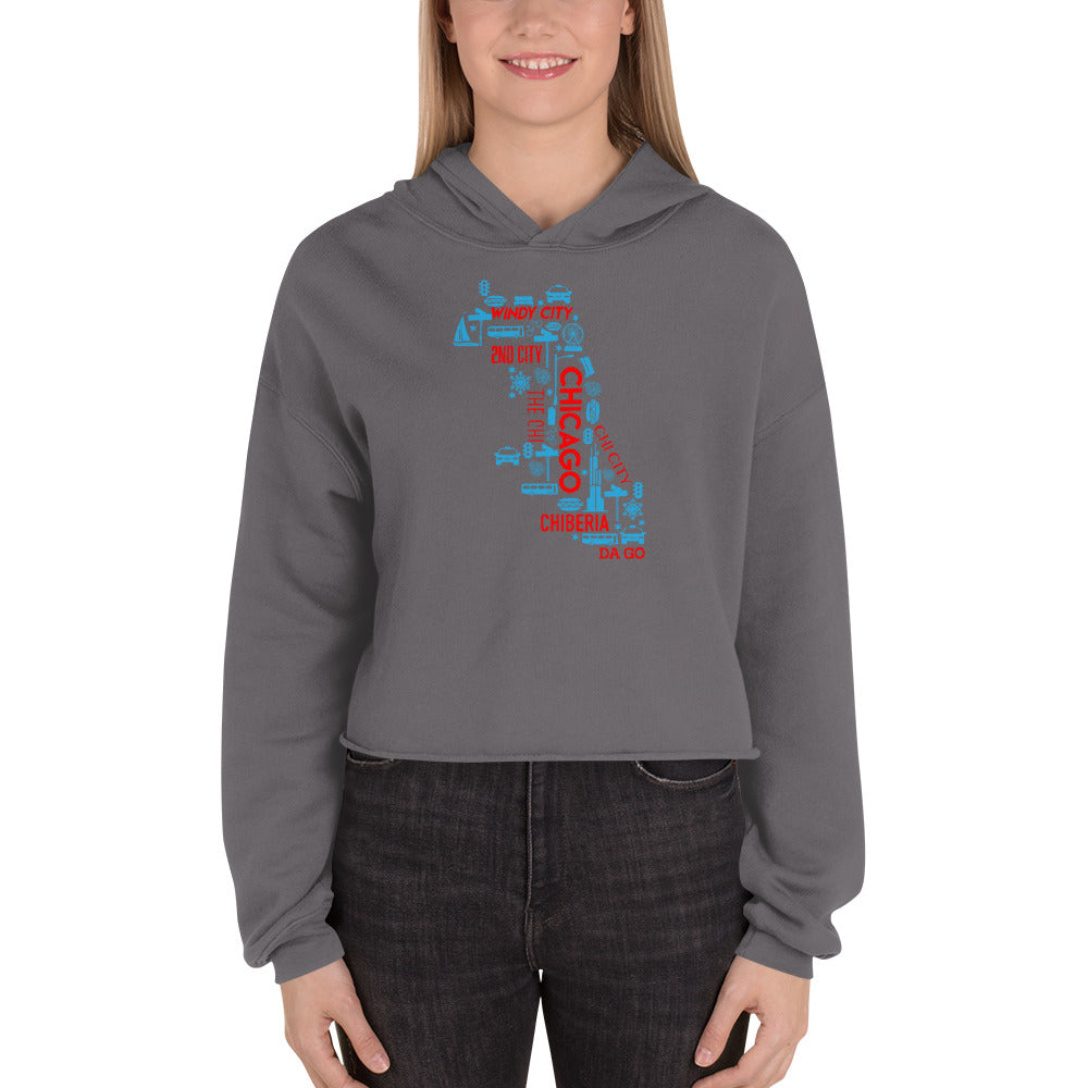Chicago Nicknames Women's Crop Hoodie