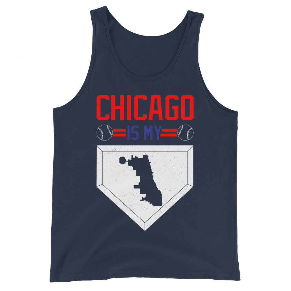 Blue Tank Top with Chicago Baseball Homebase in White