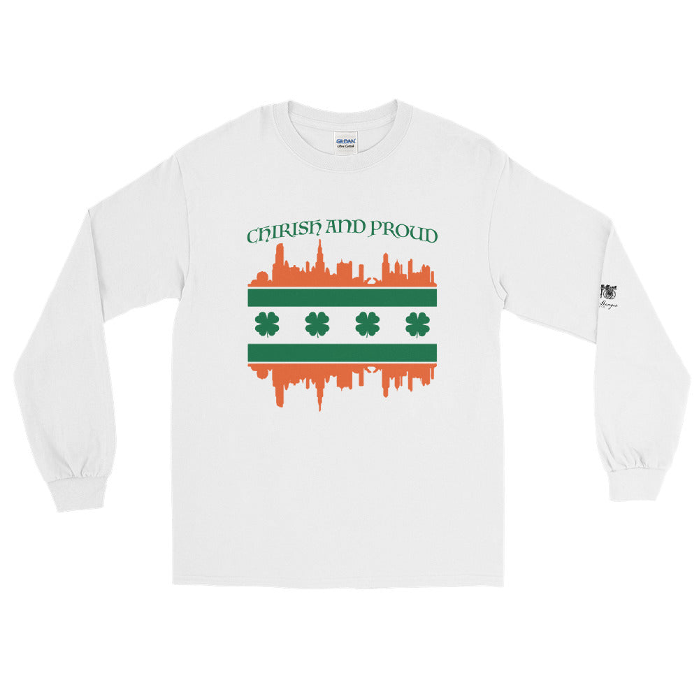 White Long Sleeve with Chicago Irish Skyline