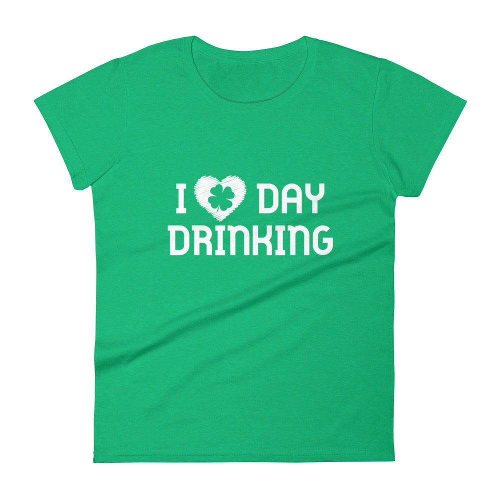 Green I love Day Drinking shirt with heart