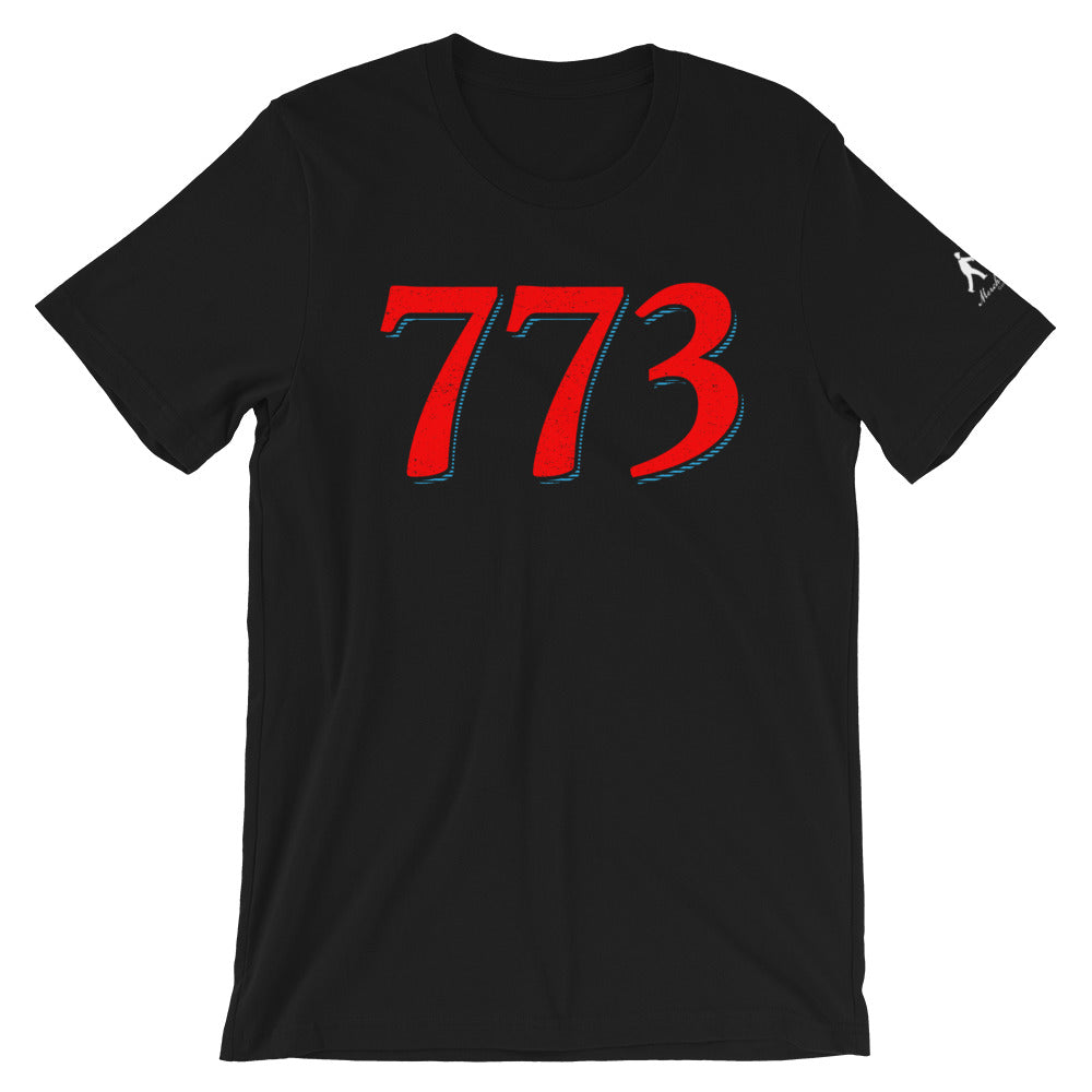 Black T-Shirt with Red 773 Chicago Area Code