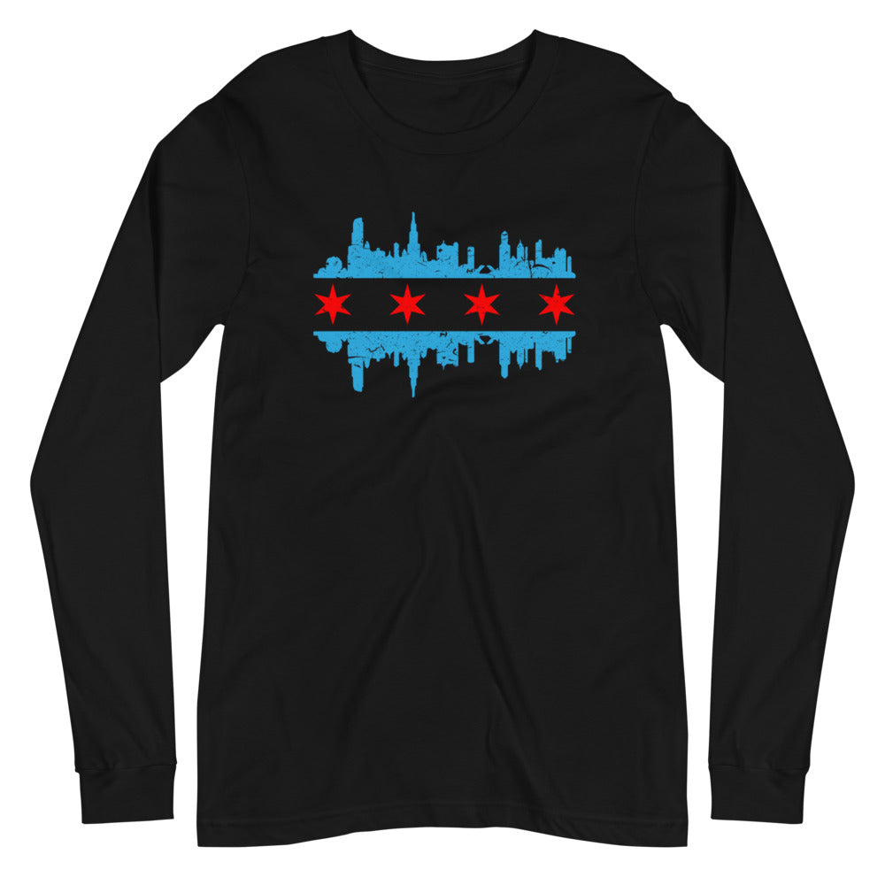 Chicago Skyline long sleeve black t-shirt with Light blue and red skyline