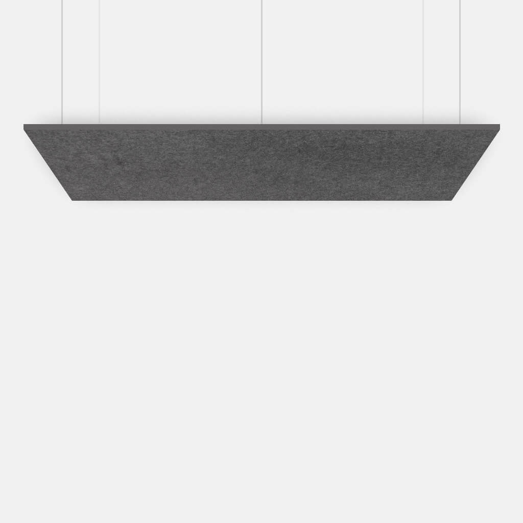 Suspended grey rectangle for sound absorption