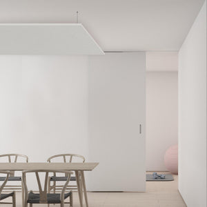 Suspended white panels for indoor spaces