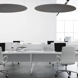 Suspended grey circles for office