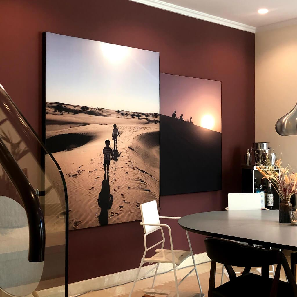 Dining area with 2 acoustic pictures on wall to reduce reverberation
