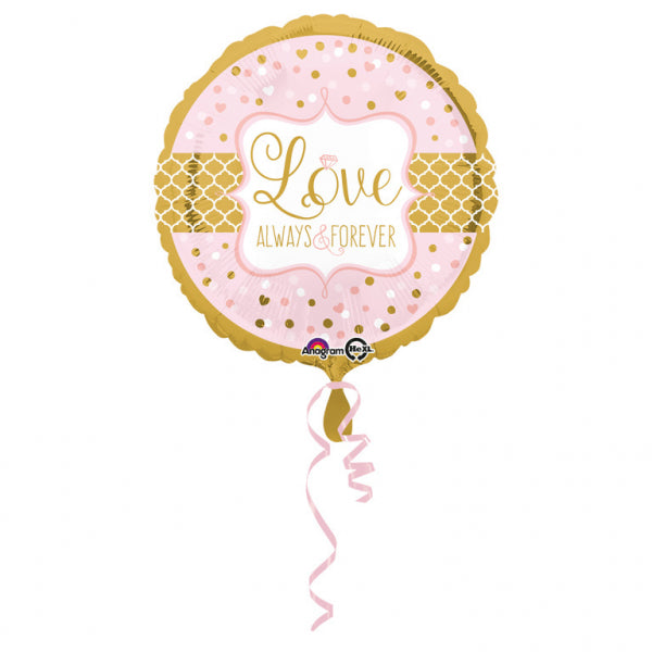 Love Always & Forever rosa gold Herz Folienballon 45cm