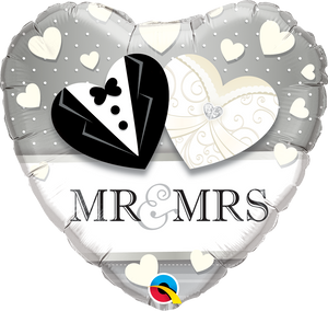 Mr & Mrs Herz Folienballon 45cm