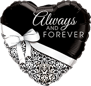 Always and Forever Herz Folienballon 45cm ungefüllt
