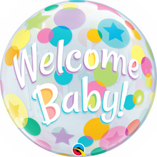 Laden Sie das Bild in den Galerie-Viewer, Welcome Baby Colorful Dots Bubble Ballon heliumgefüllt