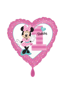 1st Birthday Minnie Mouse Herz Folienballon 45cm heliumgefüllt