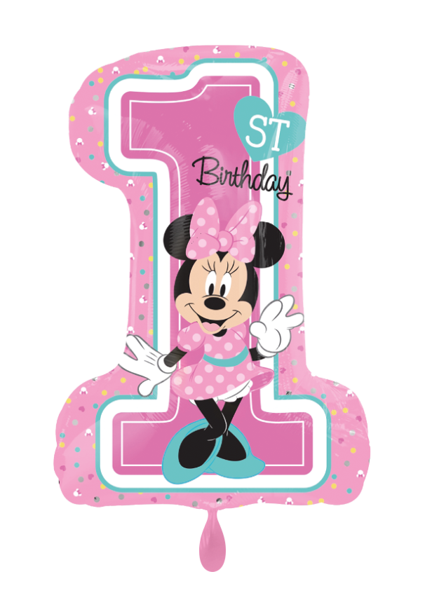 1st Birthday Minnie Mouse Zahl Folienballon 71cm heliumgefüllt