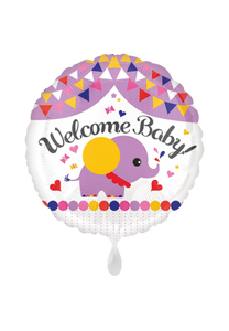 Welcome Baby Elefant Folienballon 45cm