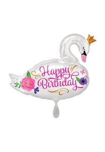 Happy Birthday Beautiful Swan Folienballon 73cm ungefüllt