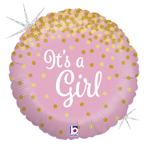 It's a Girl gold gepunktet Folienballon 45cm