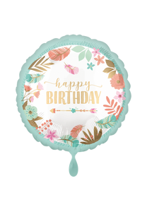 Happy Birthday Boho Girl Folienballon 45cm ungefüllt