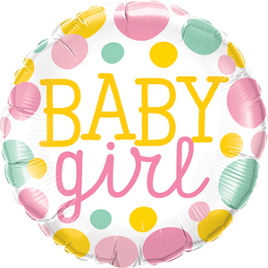 Baby Girl Dots Folienballon 45cm