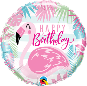 Happy Birthday Pink Flamingo Folienballon 45cm