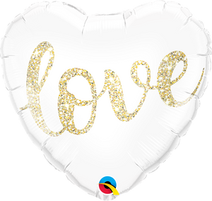 Love gold Script Herz Folienballon 45cm