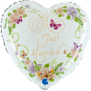 Just Married Flowers Herz Folienballon 53cm