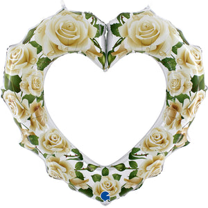White Rose Heart Frame Folienballon 107cm
