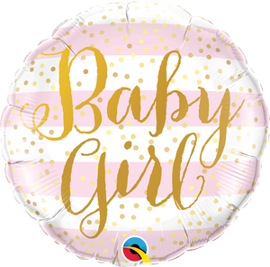 Baby Girl rosa gold Folienballon 45cm