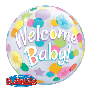 Welcome Baby Colorful Dots Bubble Ballon
